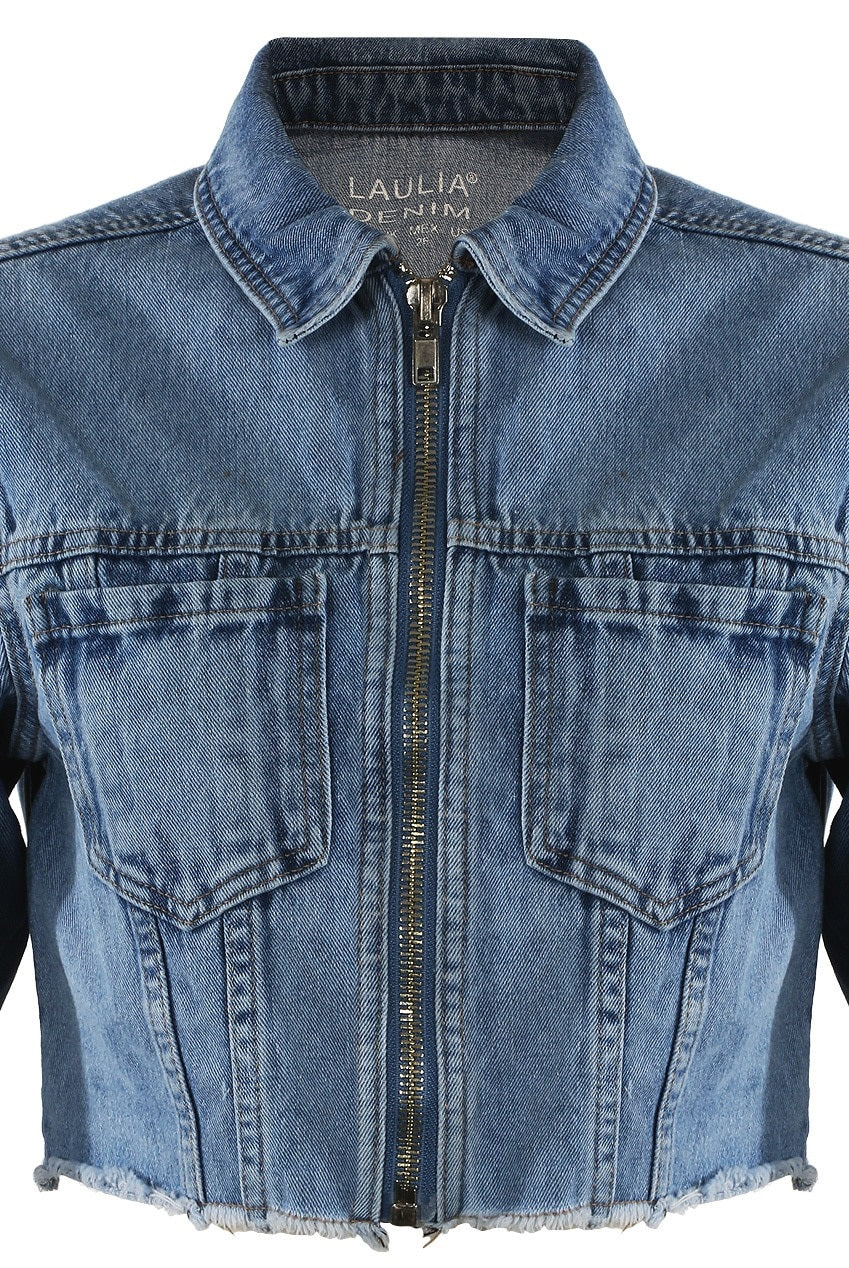Denim Blue Cropped Zip Up Jacket - Molly - storm desire