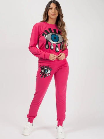 Pink Sequin Eye Applique Co-ord Loungewear - Madelyn