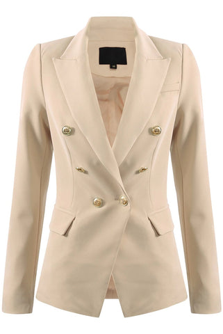 Cream Golden Button Double Breast Blazer - Eden - storm desire