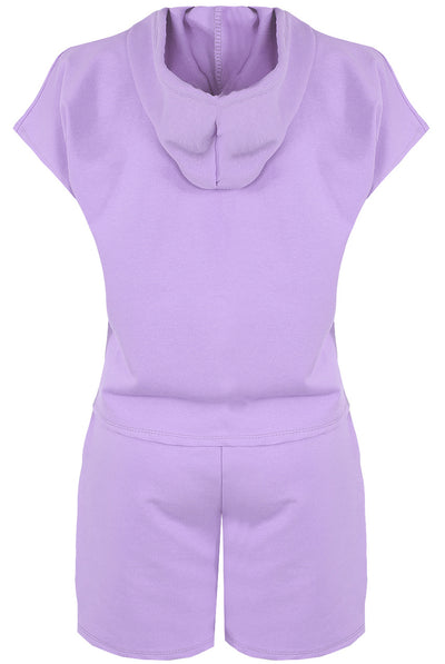 Purple Hoodie & Shorts Set - Alice