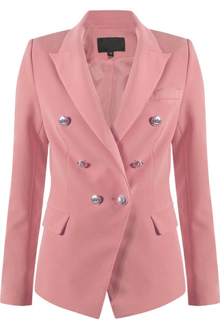 Dusky Pink Golden Button Double Breast Blazer - Eden - storm desire
