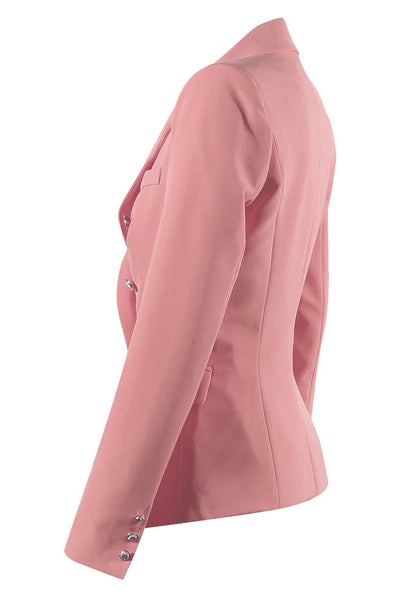 Dusky Pink Golden Button Double Breast Blazer - @ellieeewbu - storm desire