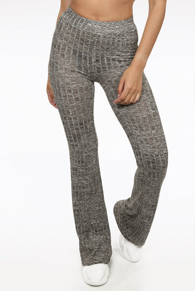 Grey Ribbed Bell Bottom Trousers - Elizabeth
