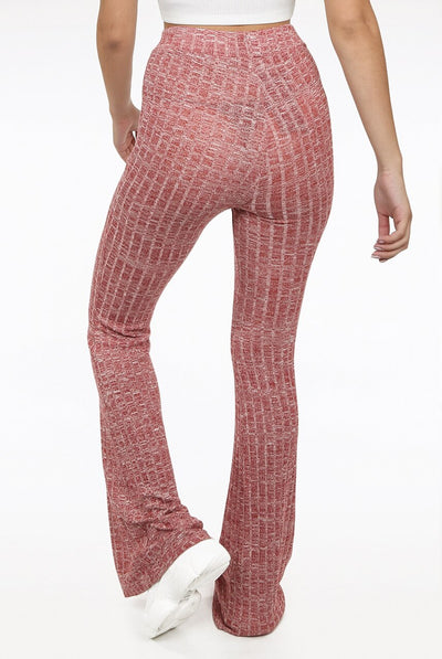 Pink Ribbed Bell Bottom Trousers - Elizabeth