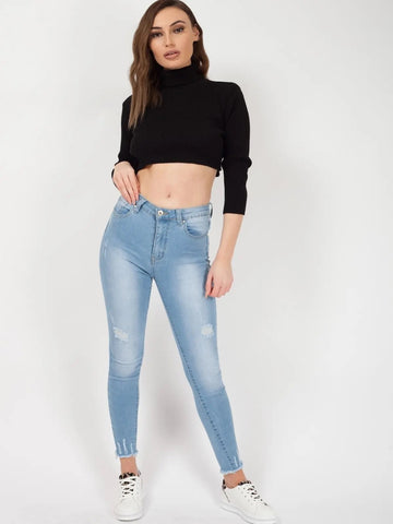Black Roll Neck Knitted Cropped Jumper - Nina - storm desire