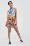 Tropical Red Mix Tie neck Mini Shorts Co-ord Set - Alina - Storm Desire