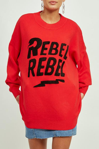 Red Rebel Rebel Baggy Knitted Jumper - Oakley