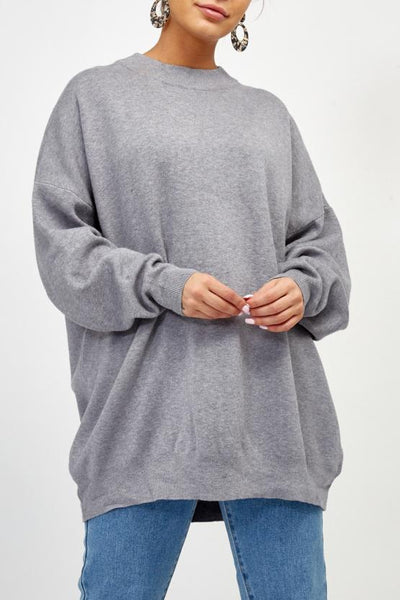 Grey Rock & Roll Baggy Knitted Jumper - Kailani