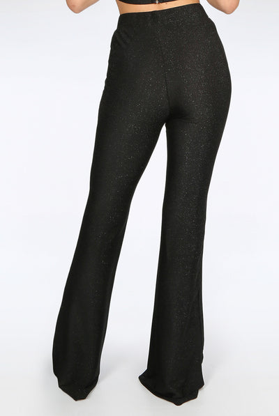 Black Lurex Glitter Bell Bottom Trousers - Kenya