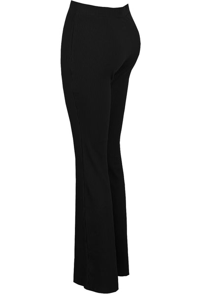 Black Ribbed High Waisted Flared Trouser - Cassidy - storm desire