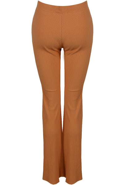 Camel Ribbed High Waisted Flared Trouser - Cassidy - storm desire