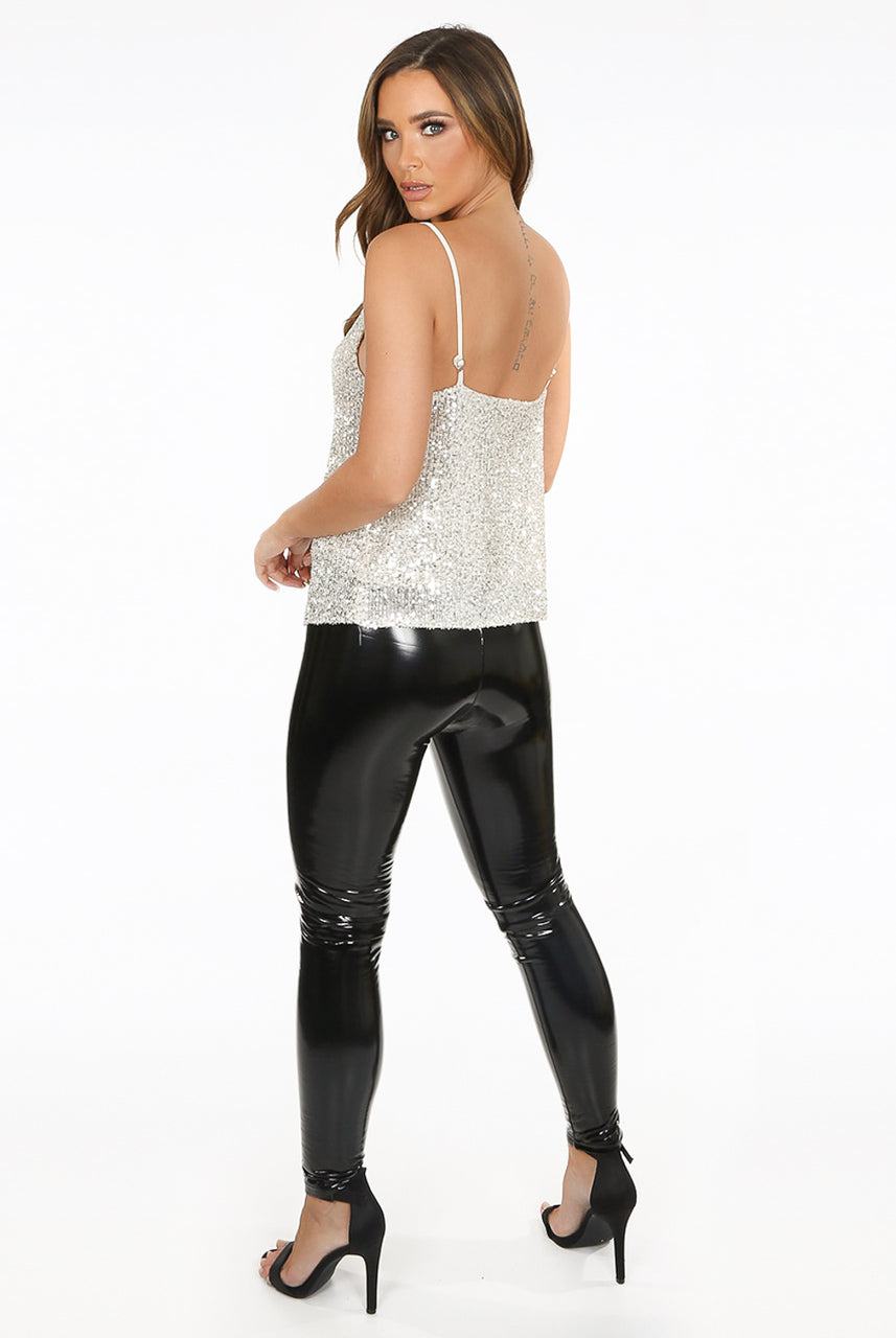 Black Shiny Wetlook Elasticated Band Vinyl Trousers - Remi - storm desire