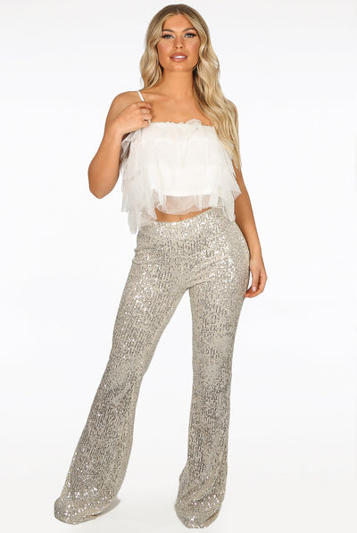 Cream Lux Sequin High Waisted Flare Trousers - Harmony