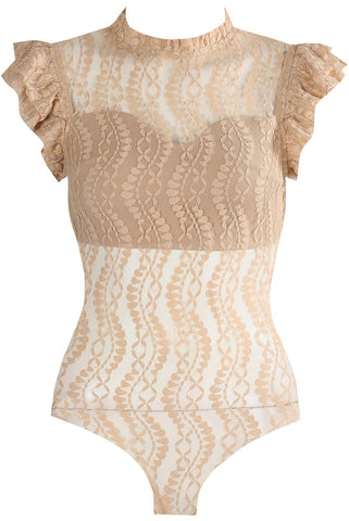 Beige Ruffle Mesh Lace Up Bodysuit Top - Reese - storm desire