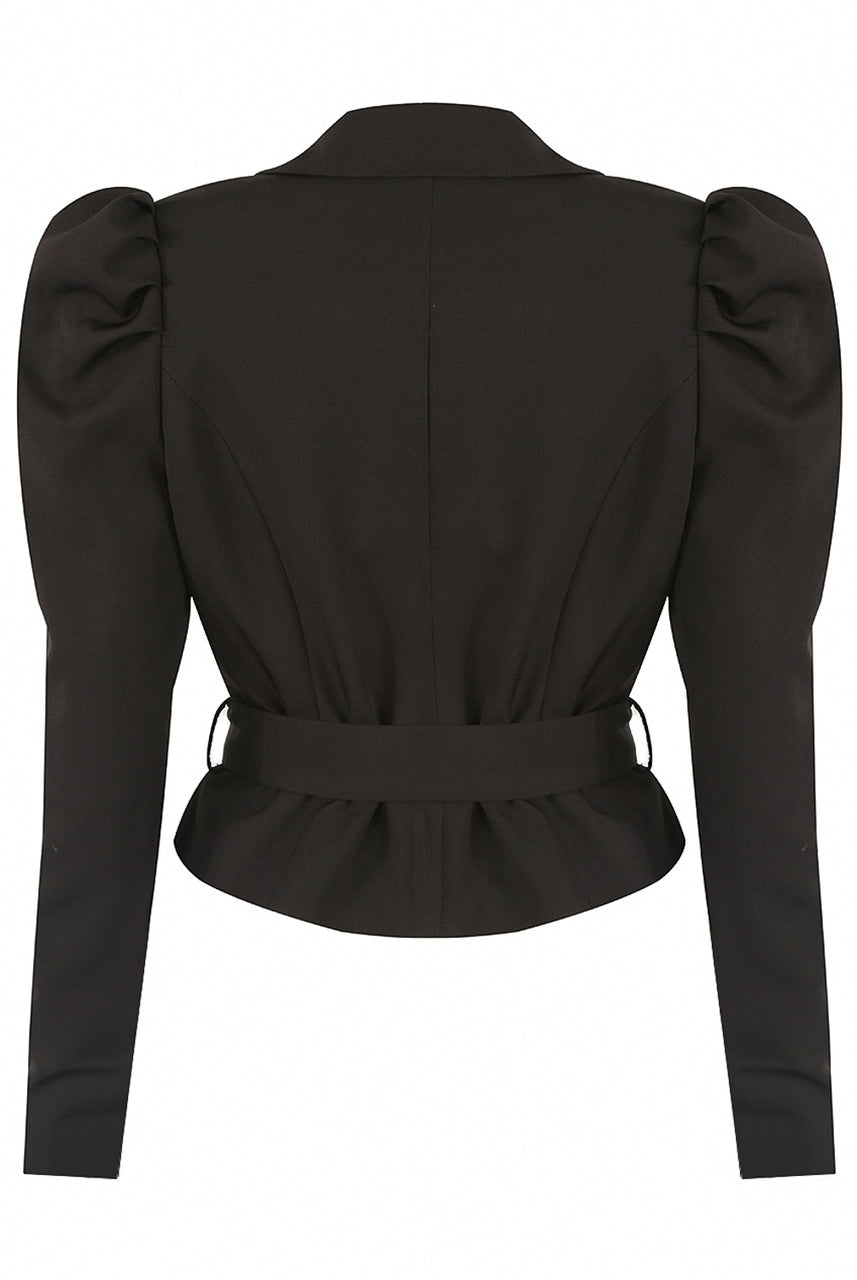 Black Puff Shoulder Crop Belted Jacket - Bella
