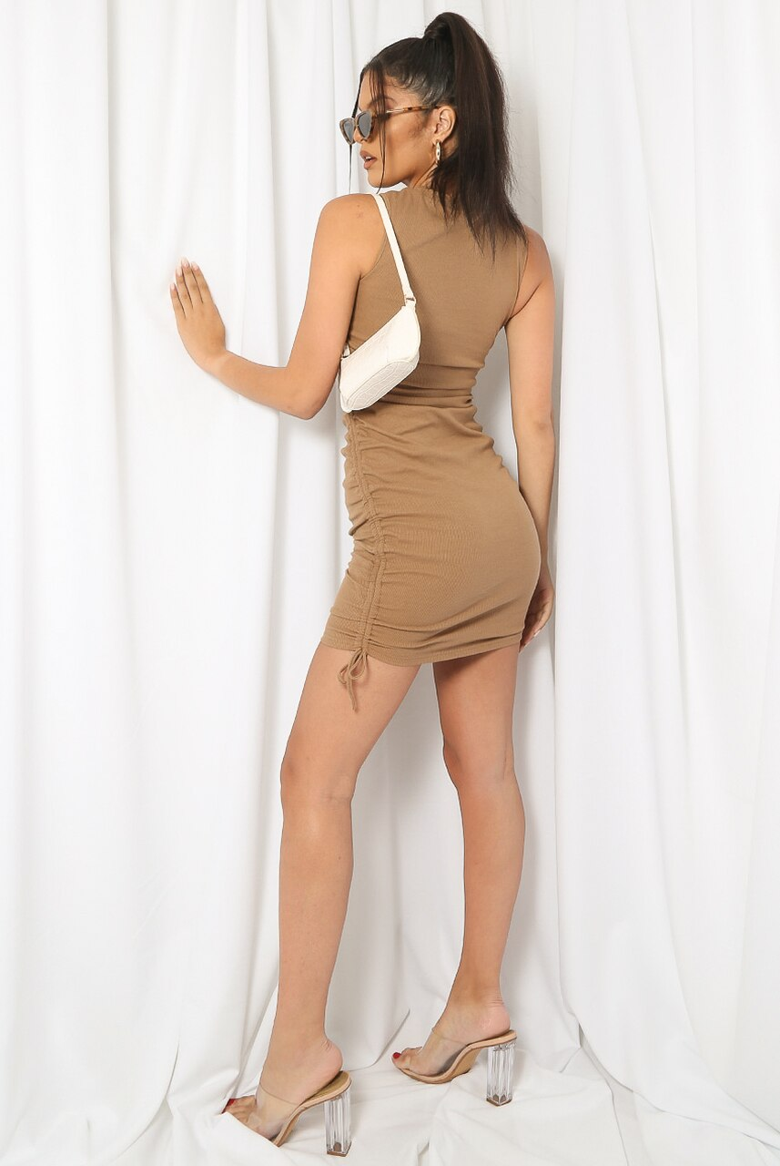 Beige Side Ruched Ribbed Mini Dress - Gabriella