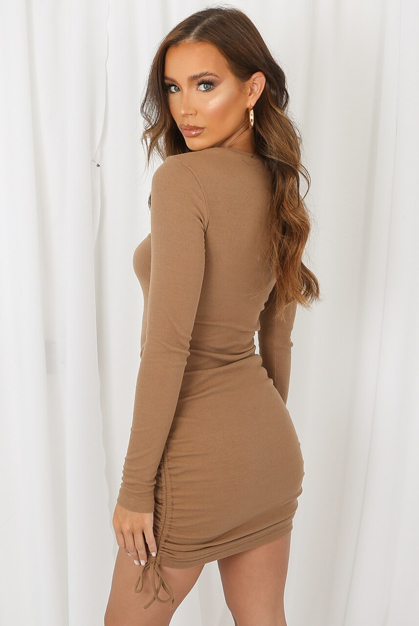 Beige Ribbed Side Knot Mini Dress -  Ember
