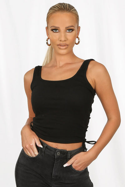 Black Side Tie Ribbed Tank Top -  Harleen