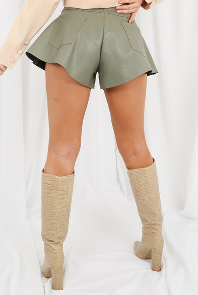 Green Pu Wide Hem Shorts - Scarlett