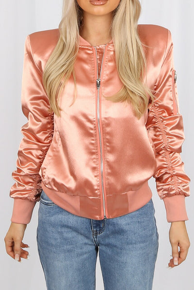 Rose Ruched Sleeve Satin Lux Bomber Jacket - Anastasia