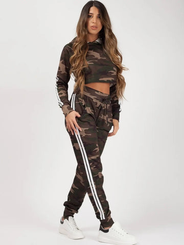 Camouflage Side Stripe Cropped Loungewear Set - Fiona - storm desire