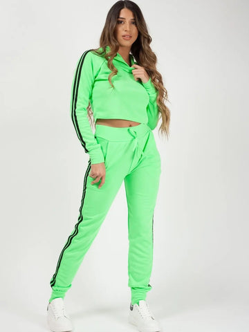 Neon green Side Stripe Cropped Loungewear Set - Fiona - Storm Desire