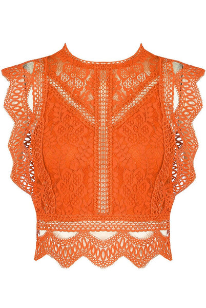 Orange Lace Crochet Mesh Crop top - Delilah