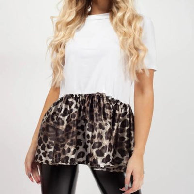 Kids White Leopard Print Frill Hem Top - Madelyn - Storm Desire