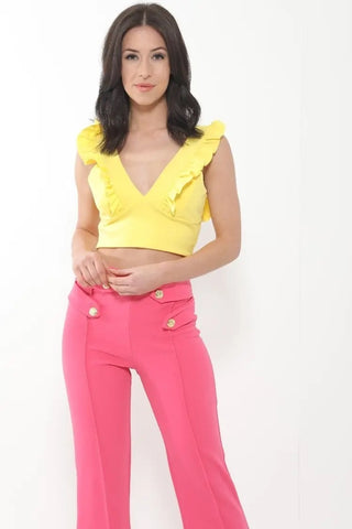 Yellow Ruched Frill Plunge Crop Top - Casey