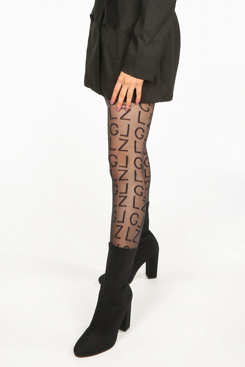 Black Alphabet Pattern Tights - Shelby