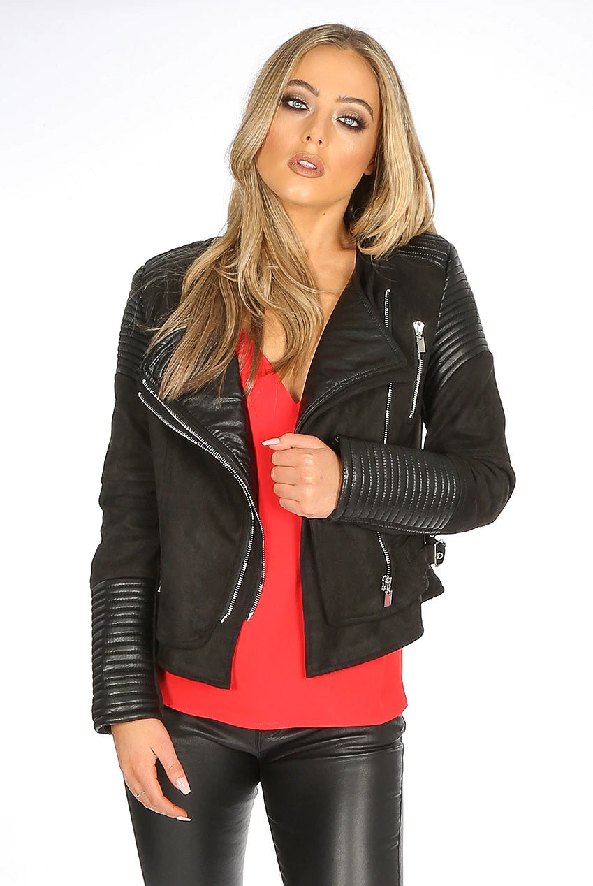 Black Suede Dual Flap Zip Up Biker Jacket Alexa - storm desire