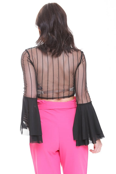 Black Striped Sheer Lace Crop Top With Flare Sleeves - Veronica - storm desire