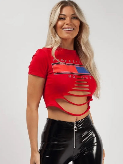 Hot Red Property Of No One Laser Cut Crop Top - Layla - Storm Desire