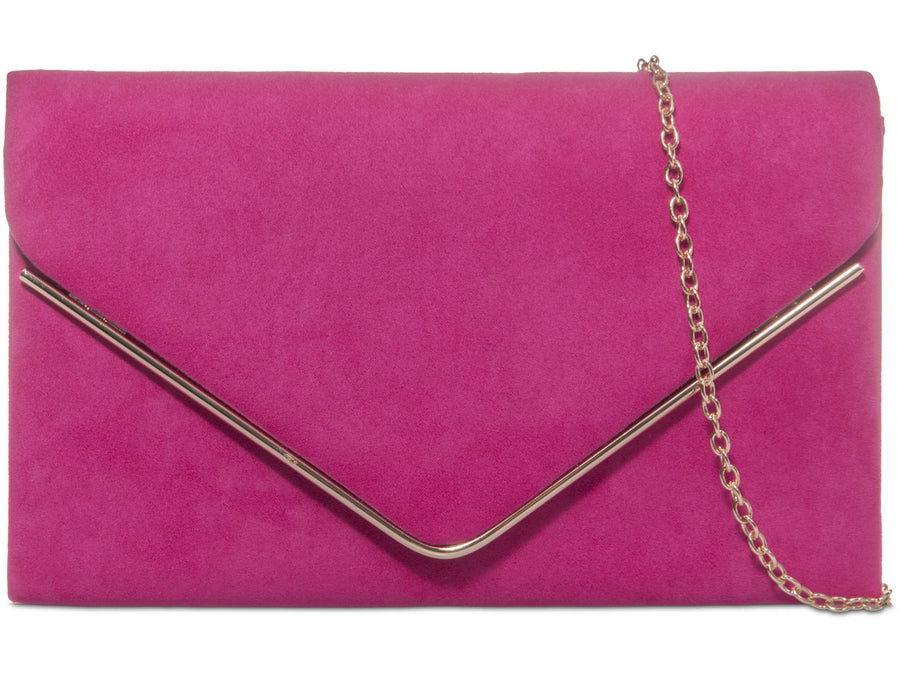 Pink Suedette Gold Trim Clutch Bag - Catherine