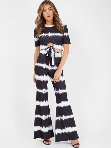 Black White Tie Dye Knot Front Crop Top & Trouser Co-ord - Josie - storm desire