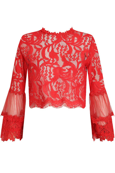 Hot red Lace Floral Embroidery Top - Sadie - Storm Desire