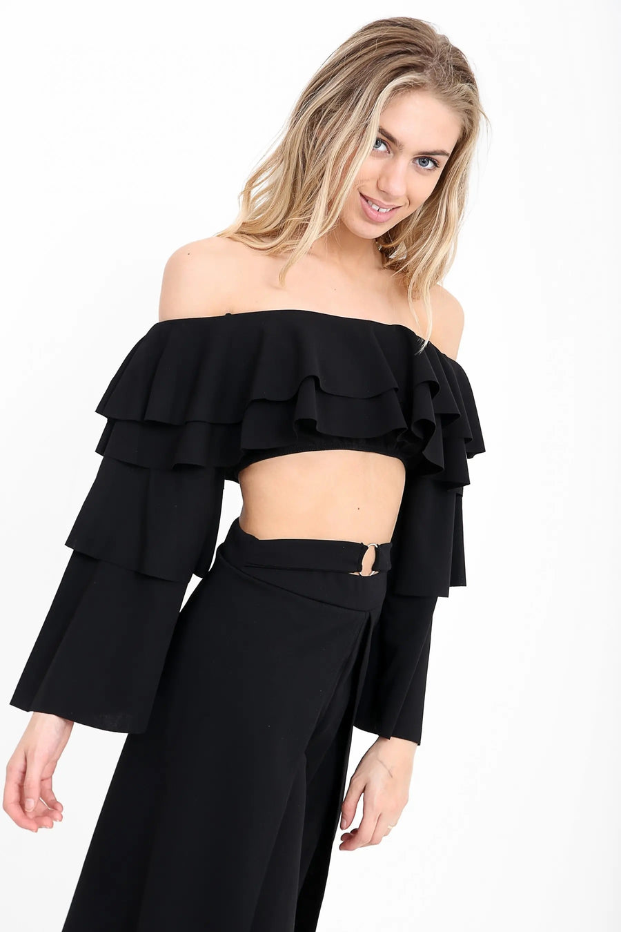 Black Layered Frill Bardot Crop Gypsy Top - Harley - storm desire