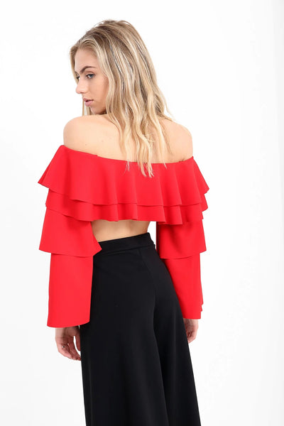 Red Layered Frill Bardot Crop Gypsy Top - Harley