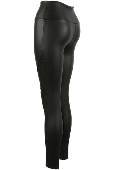 Black Matt Panel High Waisted Pu Vinyl Leggings - Kayla - storm desire