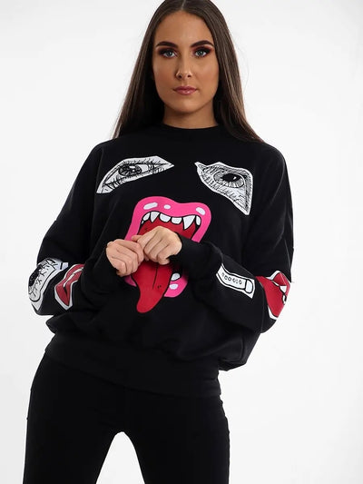 Black Monster Jaw Printed Sweatshirt Jumper - Lilly - storm desire