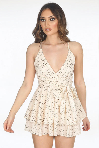 Beige Printed Layered Strappy Playsuit - Amy - storm desire