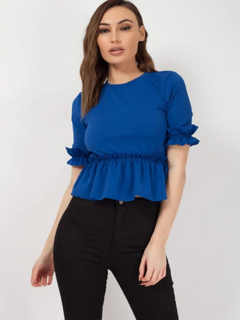 Blue Ruched Frill Hem And Sleeves Top - Valentina - storm desire