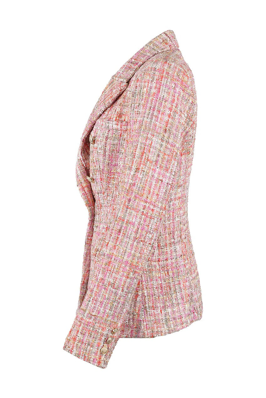 Pink Knitted Check Pattern Double Breast Blazer - Suzanah