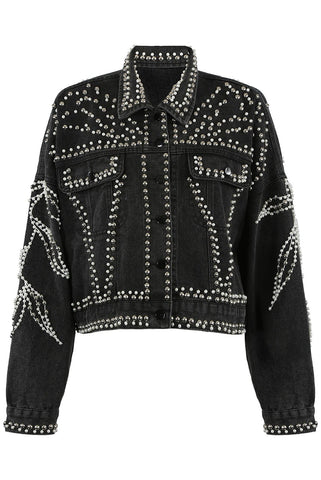 Black Denim Stud Pearl Detail Jacket - Anna - storm desire