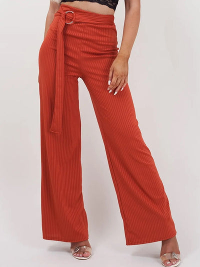 Rust Orange Double Ring Belt Ribbed Trousers - Emerson - Storm Desire