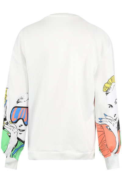 Off White Pop Art Printed Sweatshirt - Aaliyah