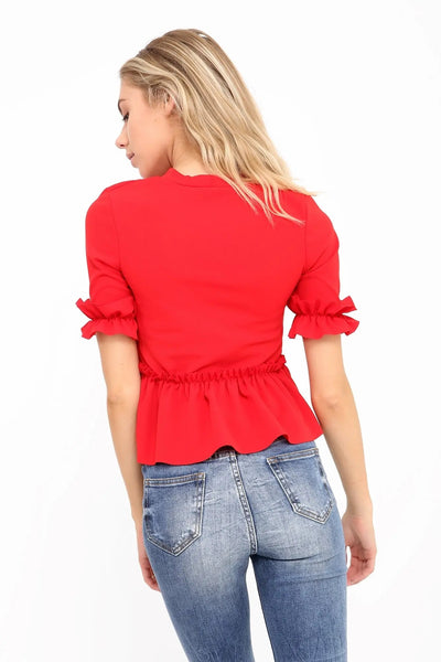 Red Ruched Frill Hem And Sleeves Top - Valentina - Storm Desire