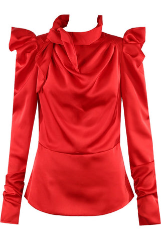Red Satin Mock Tie Up Neck Top - Lydia