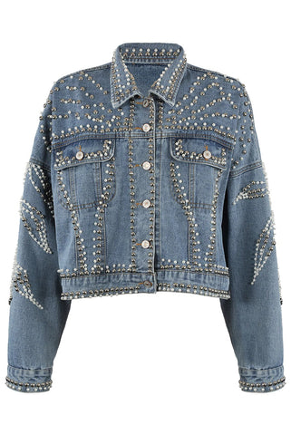 Blue Denim Stud Pearl Detail Jacket - Anna - storm desire