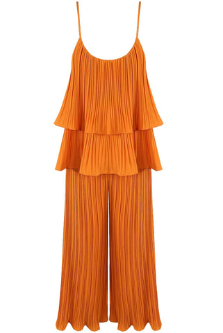 Mustard Pleated Tier Cami Top Wide Leg Trouser Cord Set